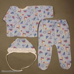 Теплый комплект 3 предмета для новорожденного (лицевые швы)